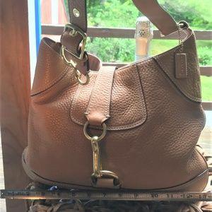 Tan Pebble Leather Coach Shoulder Bag w Toggle